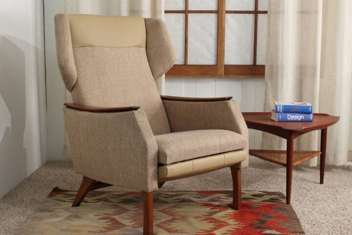 Danish Modern Recliner in upright position.