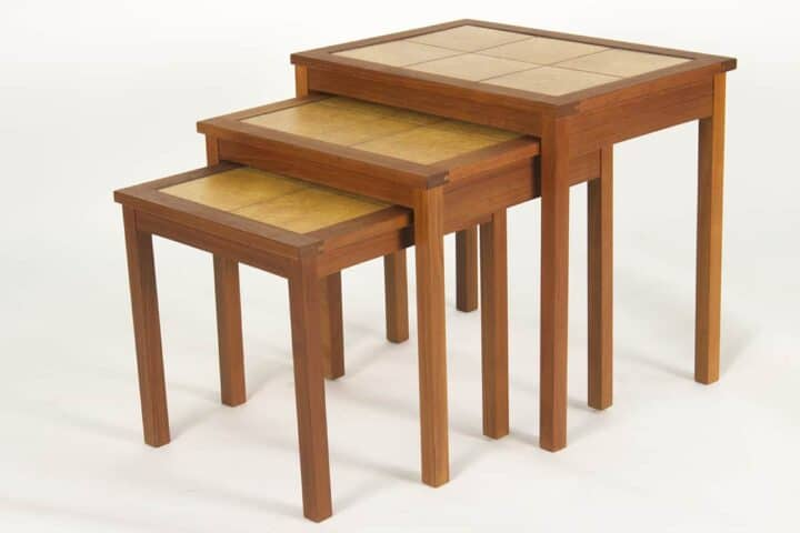 Teak Stacking Tables with tile tops