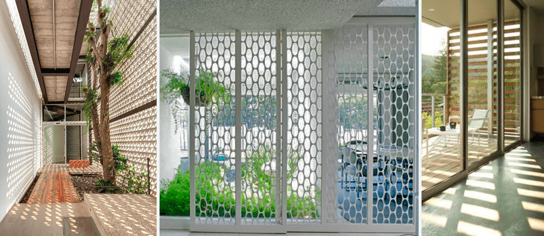 The play of light and shadow through the architectural screen.