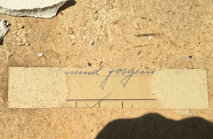 Edmund Jorgensen signature revealed when the tile surface was removed from the coffee table.