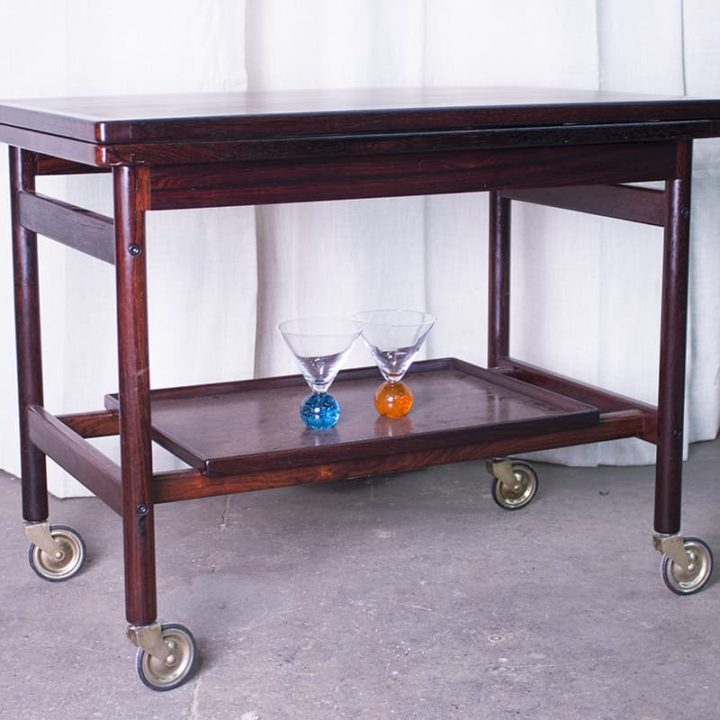 Danish modern serving cart with sliding top that doubles the size of the top.